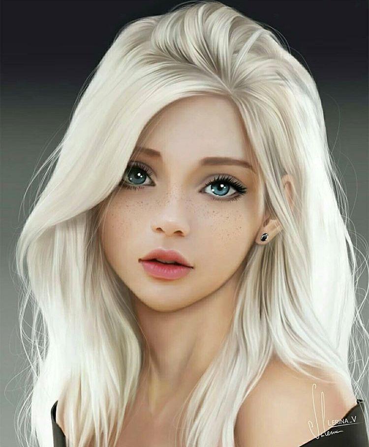 Blue Eyed Blonde Anime Art Girl Woman Face Digital Art Girl