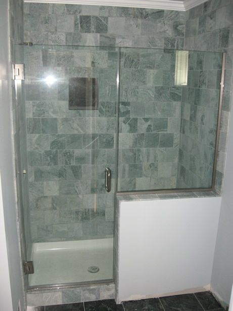 modern showers glass half wall heavy glass door with inline panel on half wall cool things. Black Bedroom Furniture Sets. Home Design Ideas
