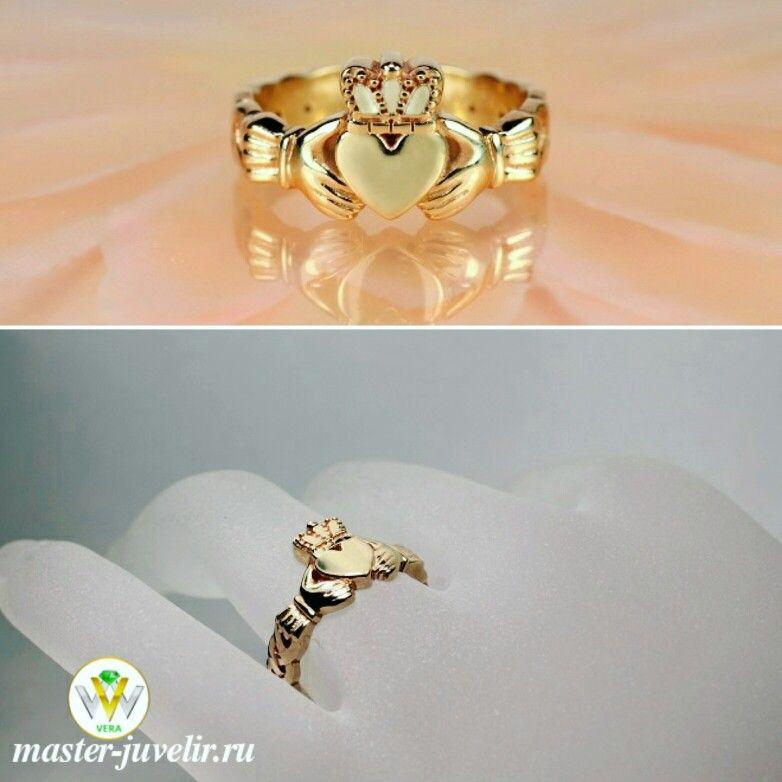 Золотое Кладдахское кольцо. Сердце символизирует любовь, руки - дружбу, корона - верность.  Артикул К128, золото 585 пробы, вес 4,5 гр.  Варианты изготовления: в золоте 585 пробы, 750 пробы, серебре 925 пробы, с камнями.
