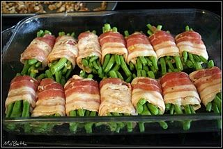 Bacon-Wrapped Green Beans:   1 hour at 375, cover beans with soy sauce, brown sugar and butter! Yum-o!