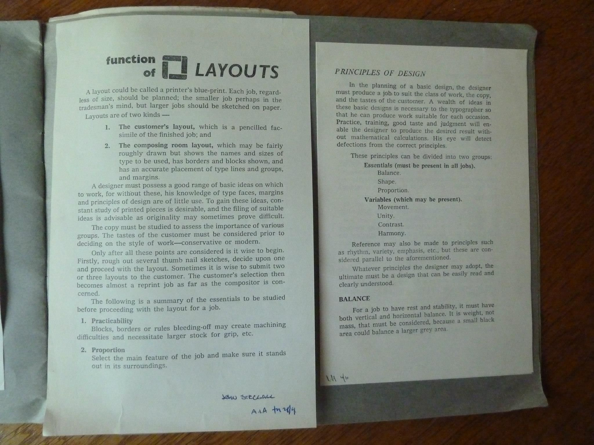 Early principles for good layout.