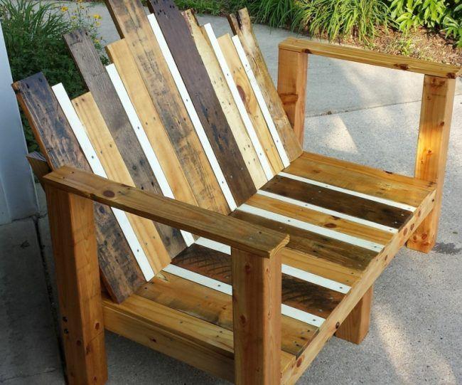gartenmöbel aus europaletten sofa stuhl bretter braun weiss