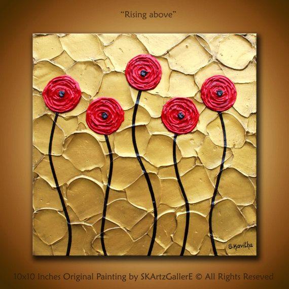 Metallic Art, Original abstract Art, 3d gold painting, Red gold wall ...