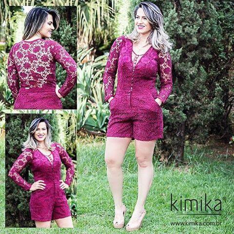 Muito amor pelo nosso macaquinho , de cor vibrante e recortes em renda! Perfeito para compor um visual elegante e super romântico  #kimikalovers #euusokimika #ootd #lookoftheday #fashion #moda