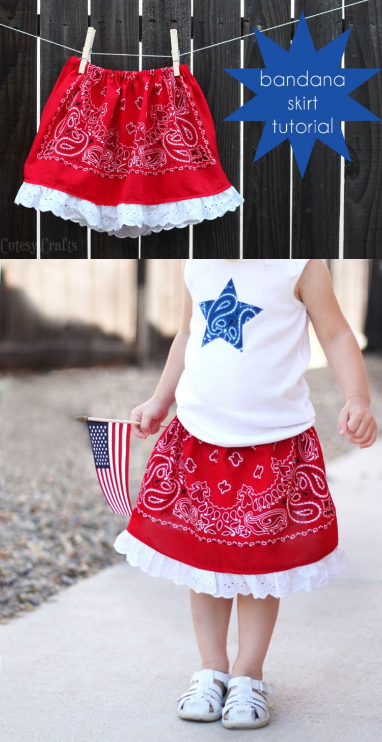 How To Make A Skirt From Bandana Little Girls Dollar Store Mom N Bab Blue Ruffle Hem Learn This For An Adorable 4th Of July Outfit So Easy Even Beginning Seamstress Can It