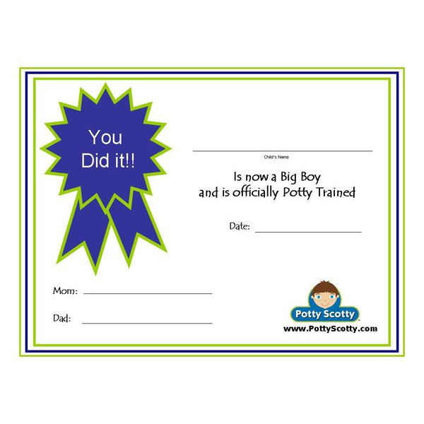 Free Potty Scotty Potty Training Certificate I  Awards And