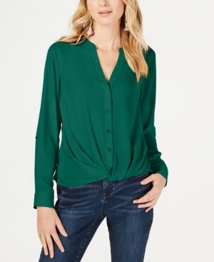 d580b37f37aa32 I.n.c. Twist-Front Button-Up Top