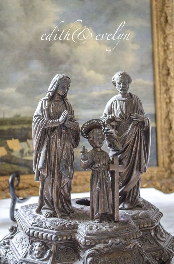 Antique French Holy Family Statue from Belgium by edithandevelyn