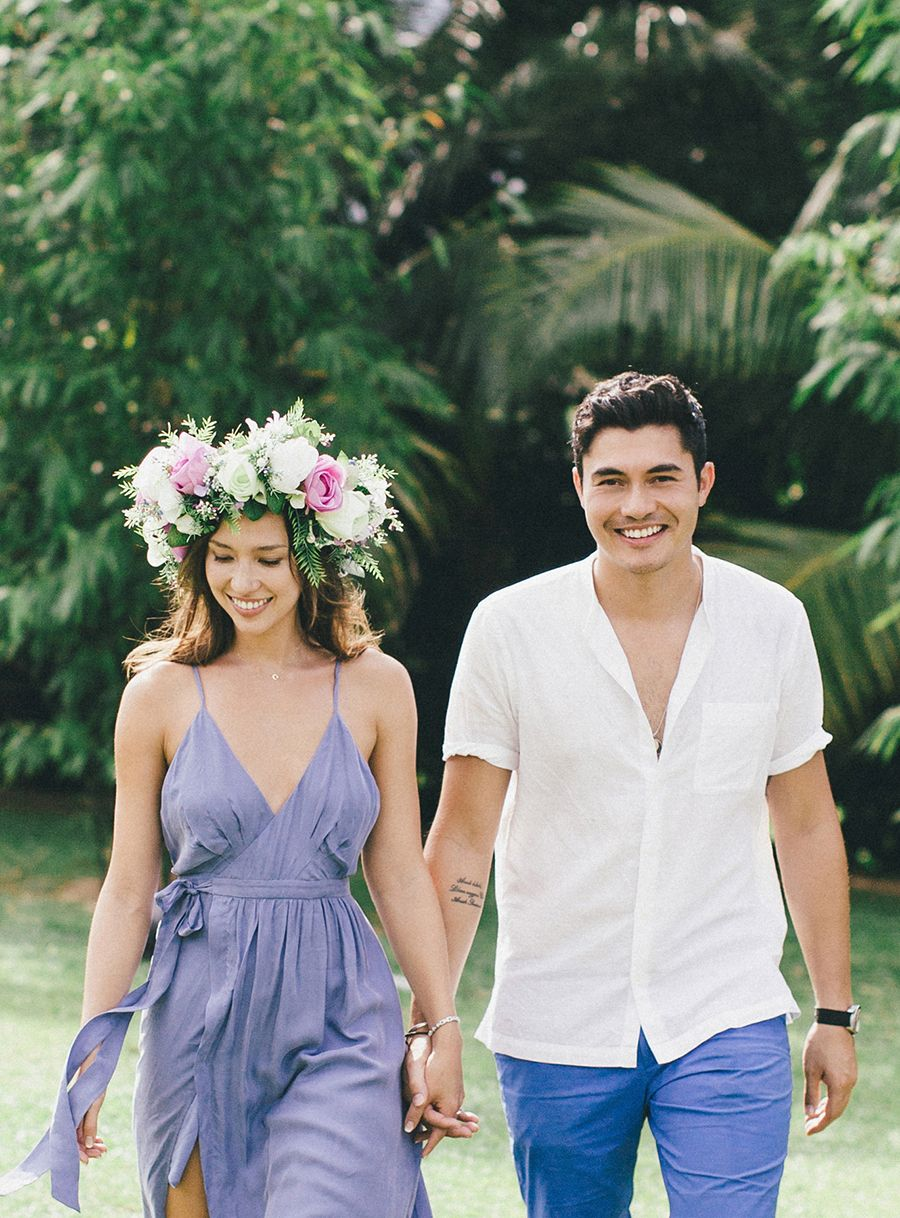 Henry golding and liv lo it took a tsunami to make it happen destination wedding weekend with bride in a giant flower crown tv hosts henry and izmirmasajfo Images