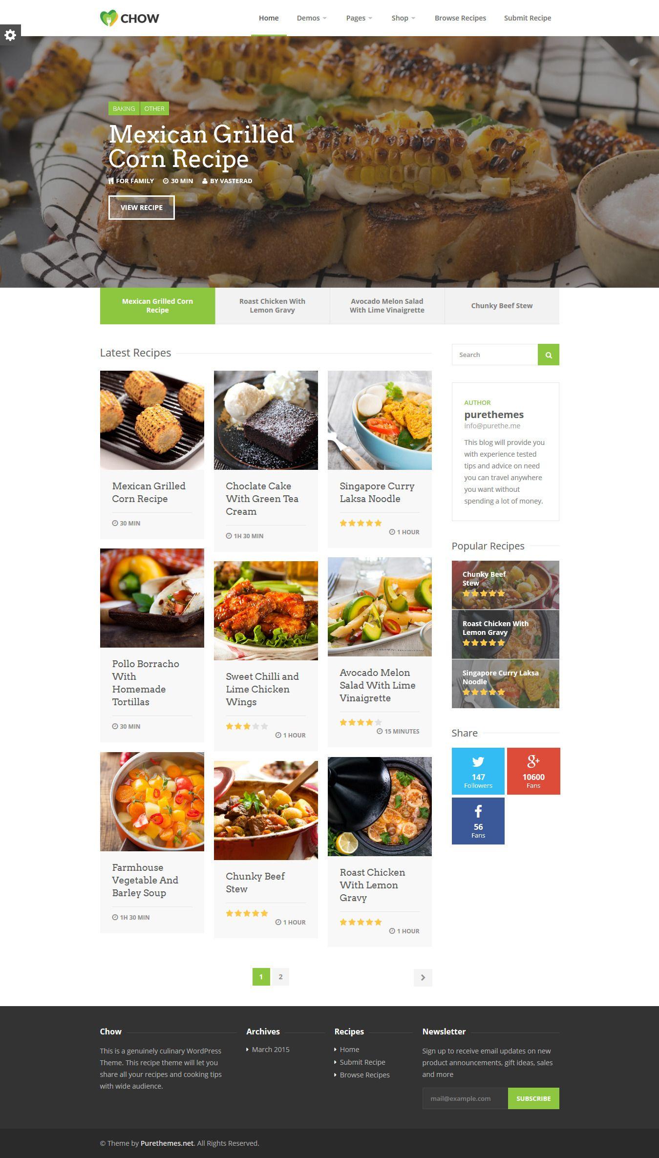 Chow recipe food wordpress theme wordpress chow recipe food wordpress theme website download httpthemeforest forumfinder Image collections