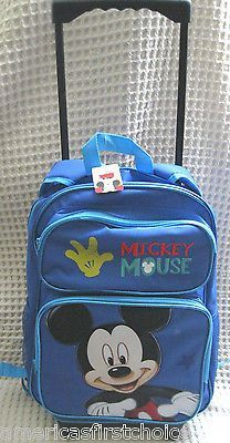 "WALT DISNEY MICKEY MOUSE 16"" ROLLING DETACHABLE BACKPACK!DETACHABLE BACK PACK"