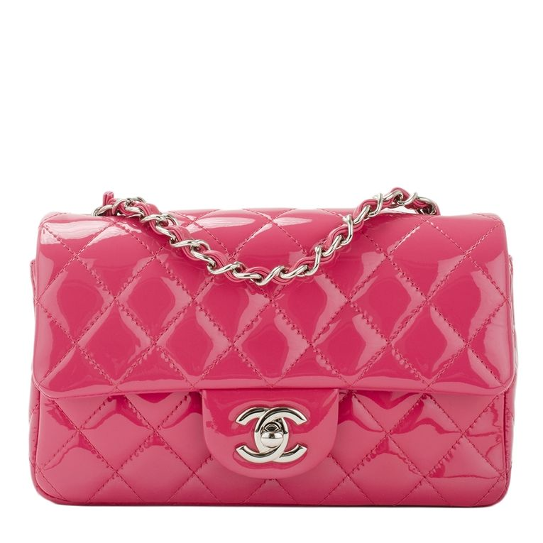 1de390b9345b Chanel Small Classic Flap Quilted Patent Bag in Fuchsia Pink #chanel ...