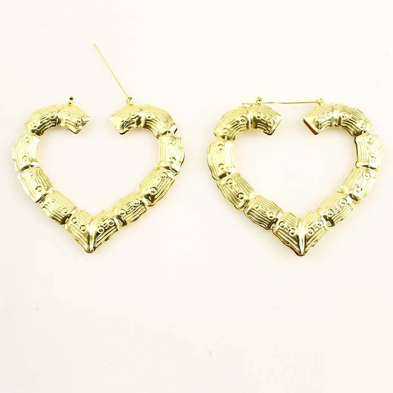 METALLIC HEART TEXTURED BAMBOO EARRINGS CASE OF
