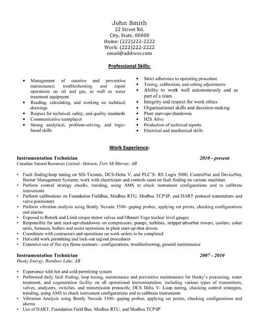 A professional resume template for an Instrumentation Technician