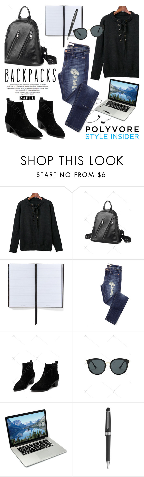 """http://www.zaful.com/?lkid=16334"" by helenevlacho ❤ liked on Polyvore featuring Smythson, Montblanc, AIAIAI, backpacks, contestentry, zaful and PVStyleInsiderContest"