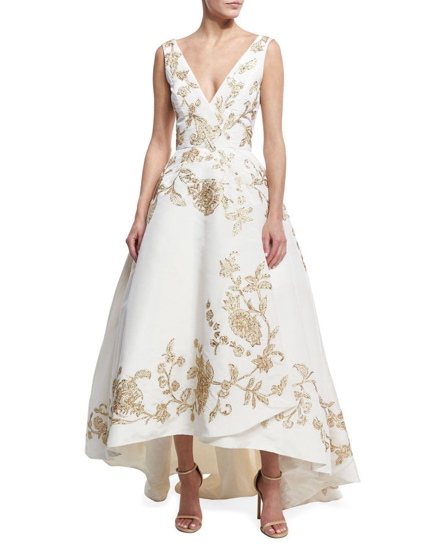 Oscar de la Renta Embroidered Silk Faille High-Low Gown, White ...