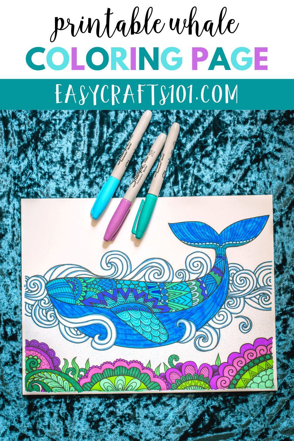 Printable Whale Coloring Page - Easy Crafts 101 in 2020 ...