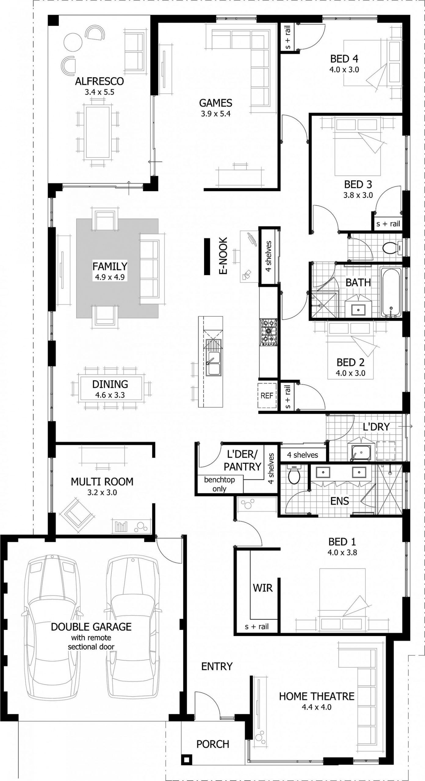 5 Bedroom Floor Plan Bungalow House Plans Australia 4 Bedroom House Plans Home Design Floor Plans