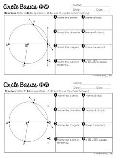 Free Circle Basics Worksheet Special Education Math Secondary