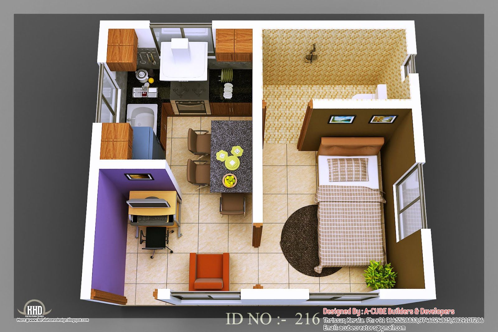 isometric views small house plans kerala home design floor information isometric small house plans - Small Houses Plans