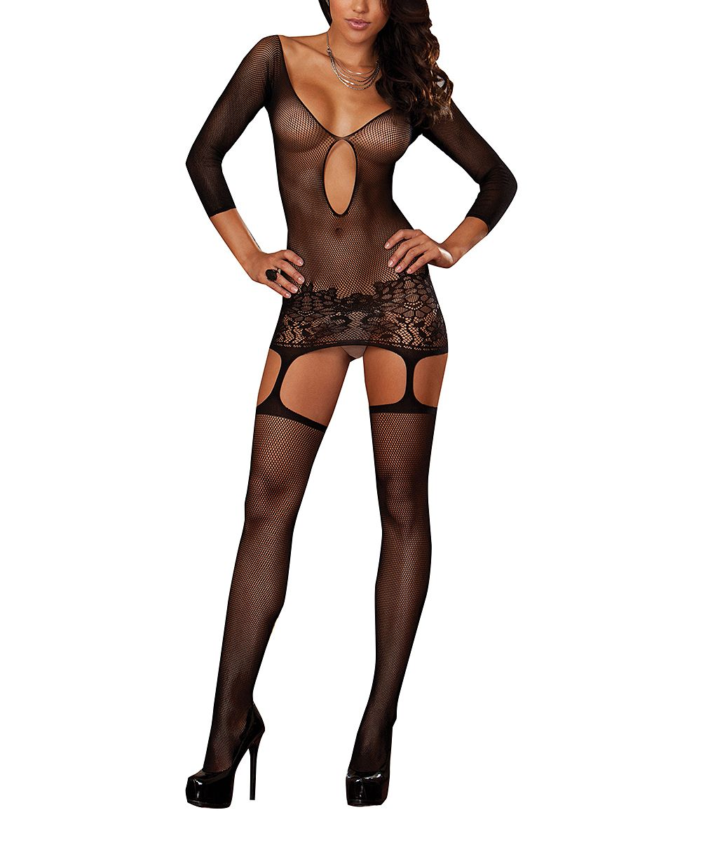 19d6b7d5298 Black Sheer Mesh Istanbul Body Stocking - Plus Too
