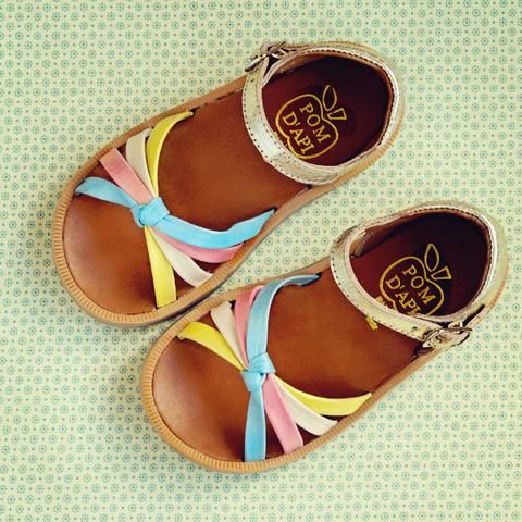 b680cf57f114 Pom d Api Girls Gold Sandal with Colourful Straps