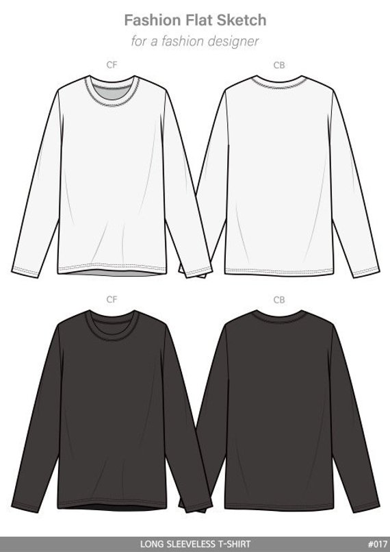 a60f9dbb Longsleeve Tee fashion flat sketch template in 2019 | Products ...