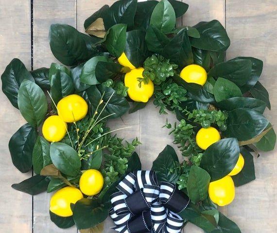 Photo of Lemon Magnolia Wreath, Summer Lemon Wreath, Spring Magnolia Wreath, Yellow Spring Wreath, Lemon Wrea
