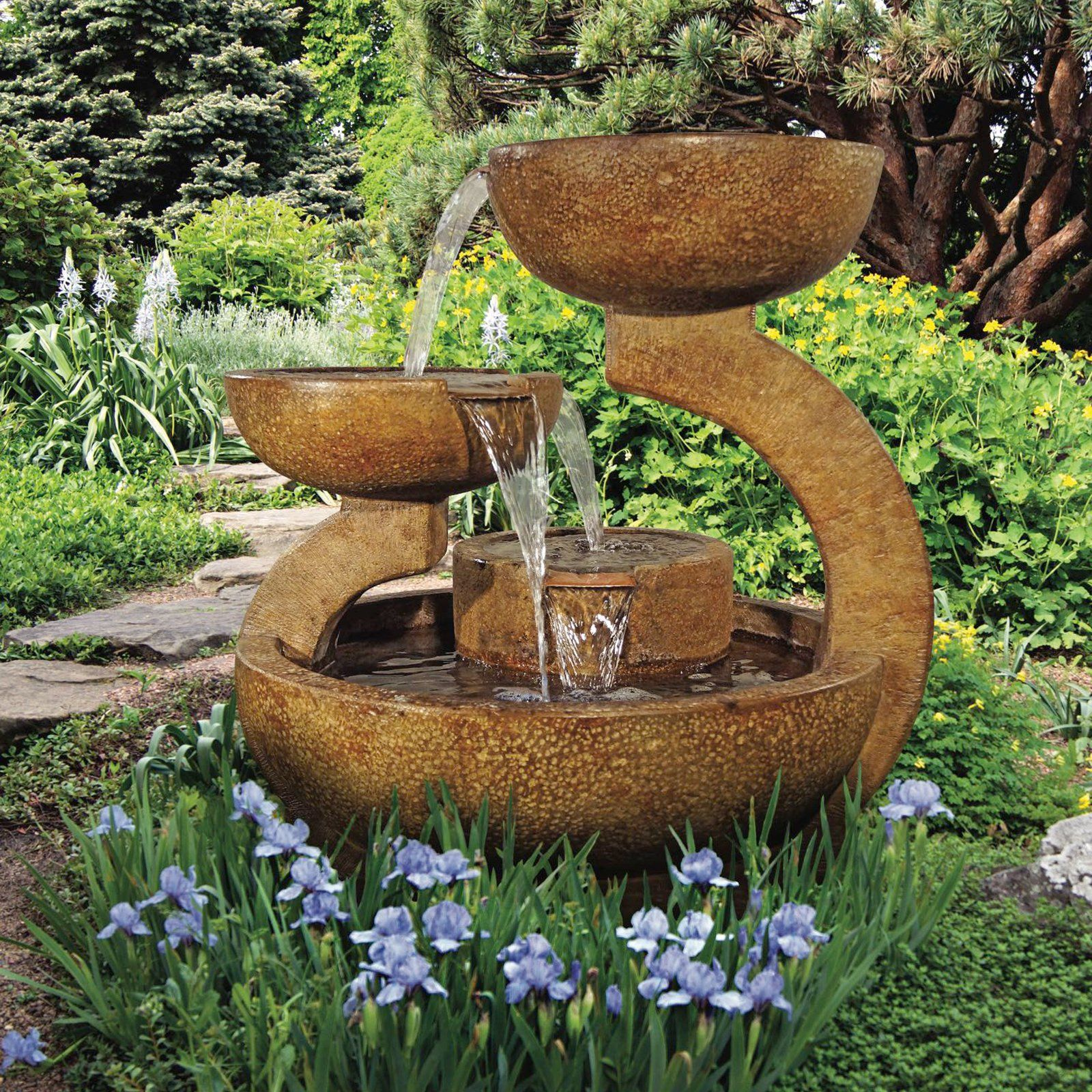 Henri Studio 2 Piece Zen 3 Bowl Outdoor Fountain Water 400 x 300