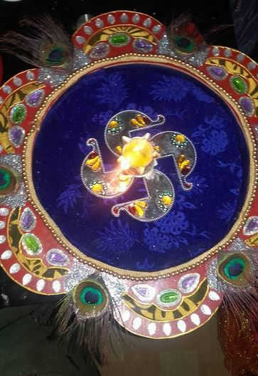 Aarti thali decoration ideas for janmashtami also pooja rh co pinterest