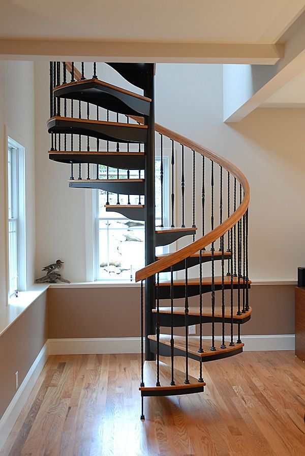 Spiral Staircase Wooden Steps Metal Frame Without Risers Fi