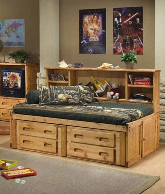 Details About Solid Wood Bookcase Twin Size Captains Bed W