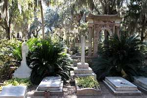 Bonaventure Cemetery near  Savannah on the Wilmington River was once a plantation. Moody moss draped live oaks, colorful azaleas, and palm trees abound. It is the final resting place for Savanna's famous and infamous. We spent an entire day reading intriguing markers and admiring ornate statuary.