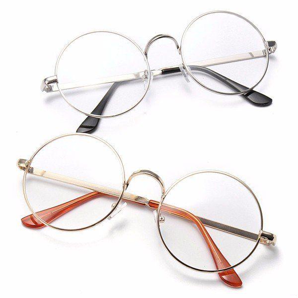 Fashion Men Women Retro Big Round Metal Frame Clear Lens Glasses ...