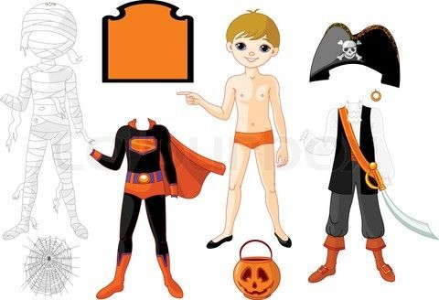 Stock vector of 'Pointing Paper Boy with three costumes for Halloween Party'