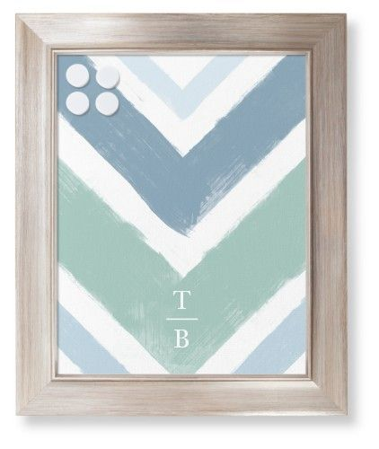 Chevron Watercolor Framed Magnetic Board, Metallic, Modern, 11 x 14 inches, Blue