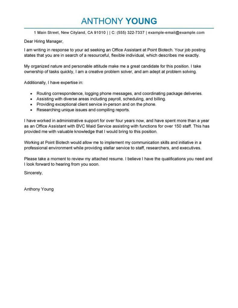 Sample Cover Letters 4
