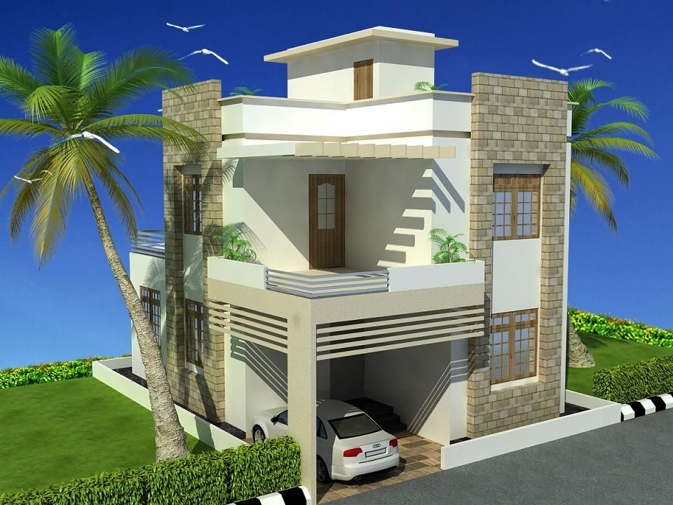Front elevation designs for duplex houses in india for Front elevations of duplex houses
