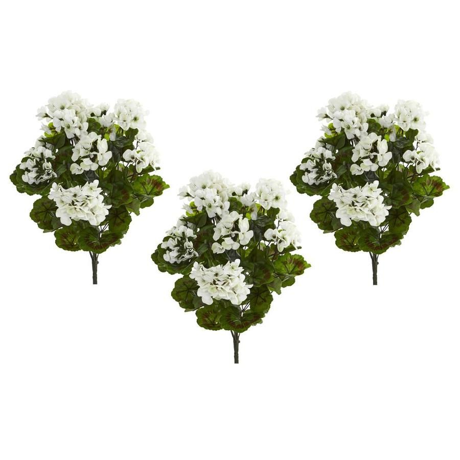 Nearly Natural 19 In White Artificial Geranium Flowers Lowes Com In 2020 Geraniums Geranium Flower Artificial Roses Arrangements