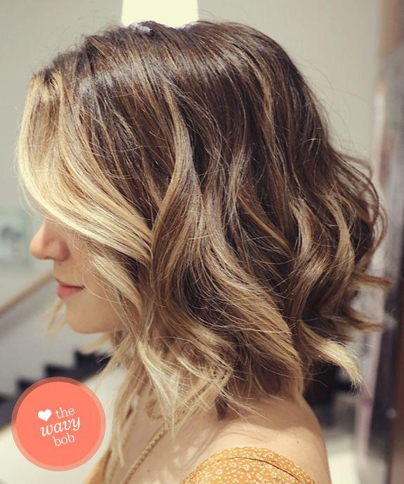 Mid Length Wavy Inverted Bob Hairstyles Wavy Bob Hair Hair Styles Curly Hair Styles