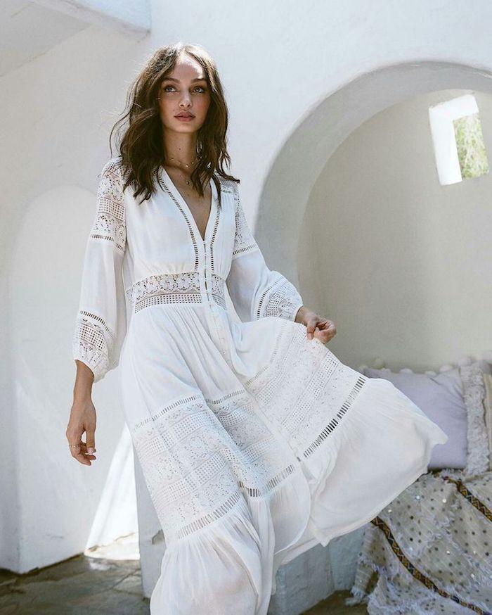1001 Photos De La Robe Boheme Blanche Pour Etre En Top Des Tendances Robe Boheme Robe Longue Blanche Boheme Chic Robe Blanche