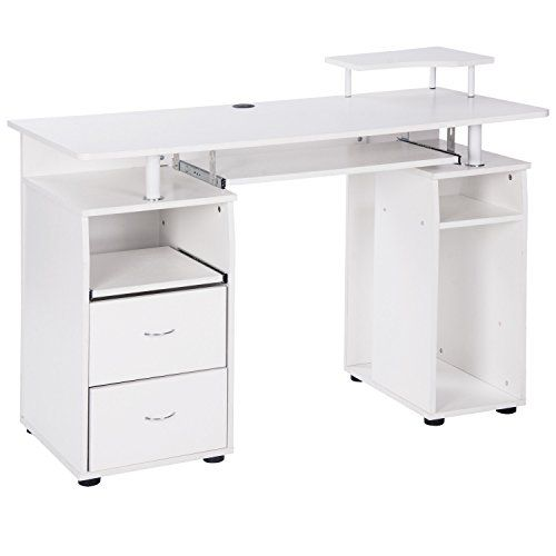 Merax Classic Home Office White Computer Desk With Pull