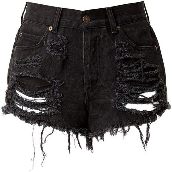look out for shop best sellers finest selection Black High Waisted Denim Shorts - Destroyed (640 ARS) ❤ liked on ...