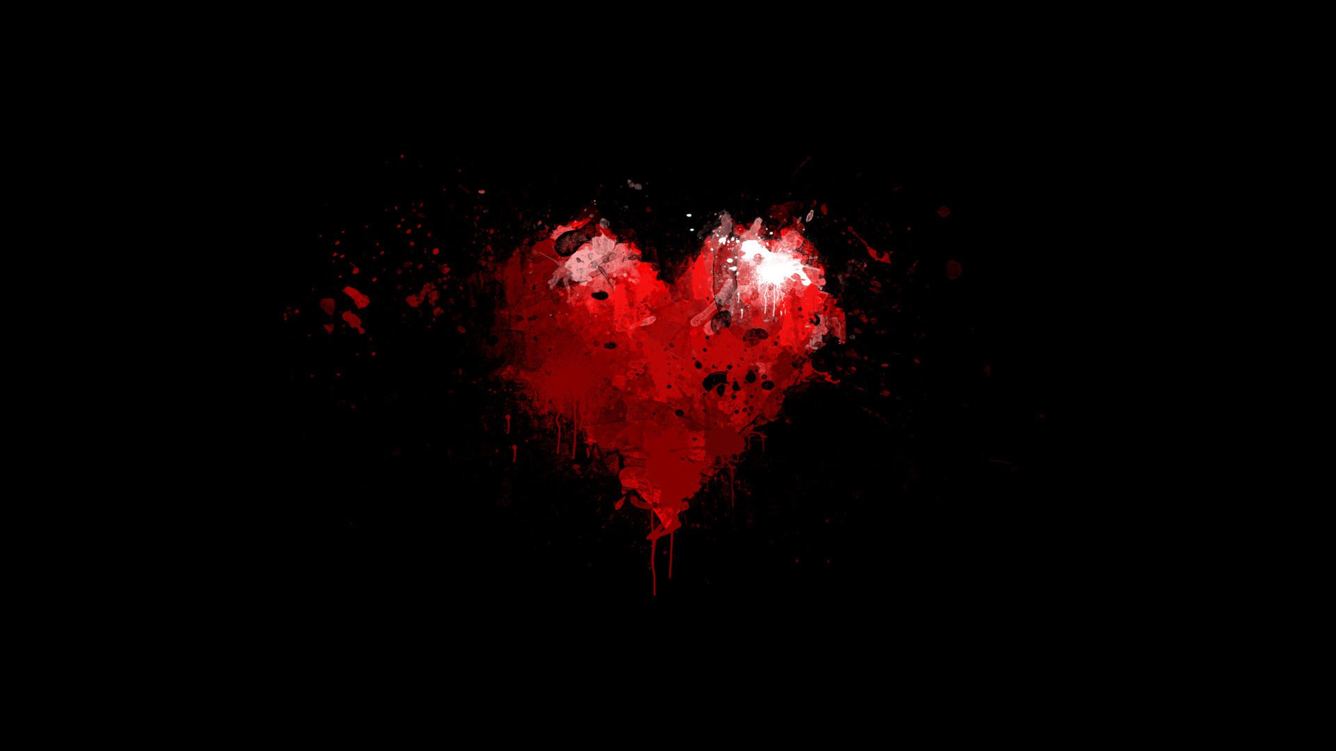 Painted Red Heart On Black Background Widescreen Wallpaper
