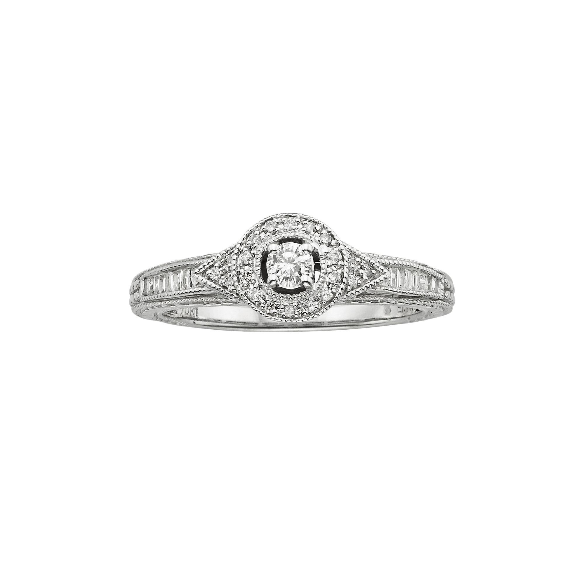 Round-Cut Diamond Halo Engagement Ring in 10k White Gold (1 4 ct. T.W.) 66bd960a9