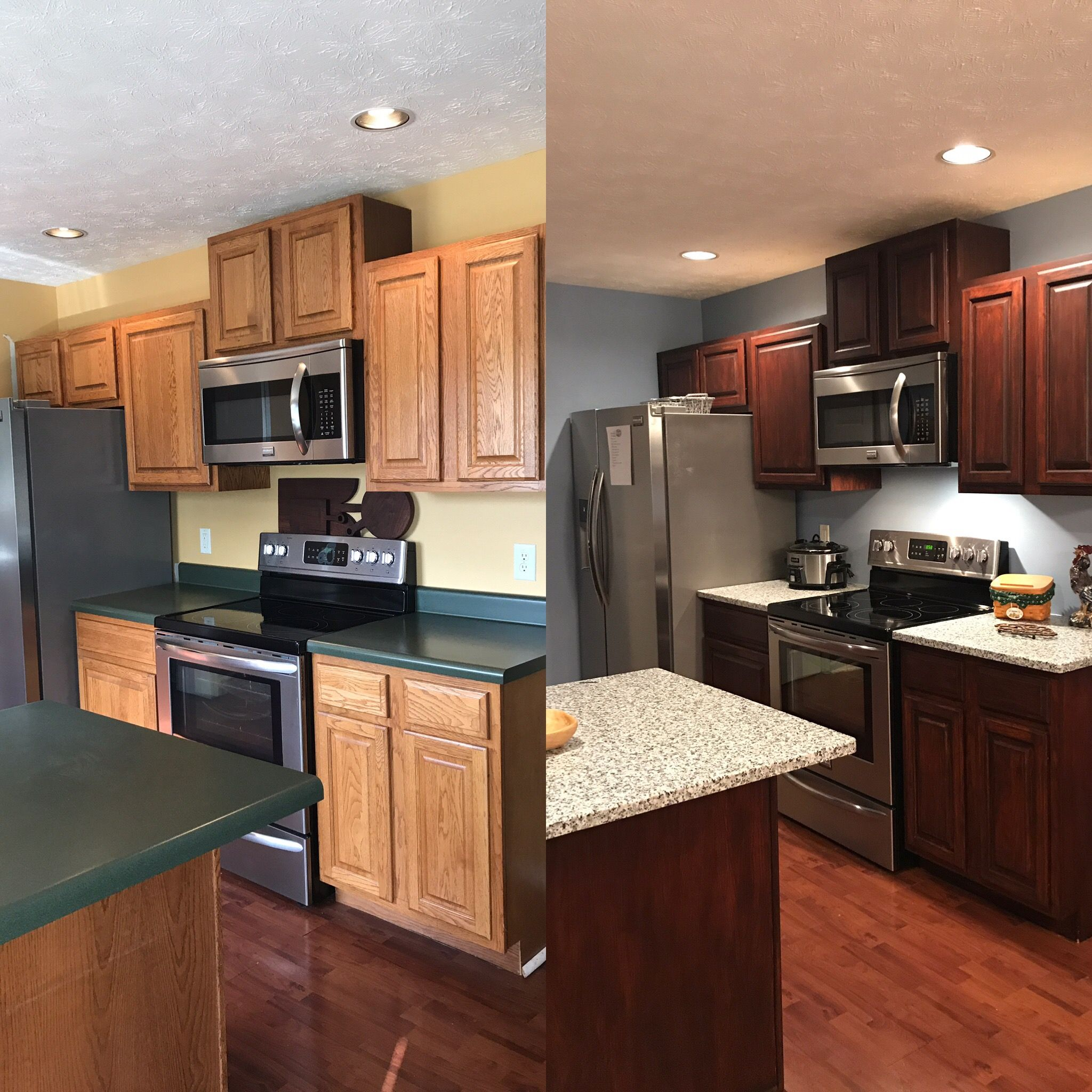 Our Before And After Kitchen General Finishes Gel Stain In Brown Mahogany New Kitchen Cabinets Before And After Stained Kitchen Cabinets Kitchen Remodel Cost