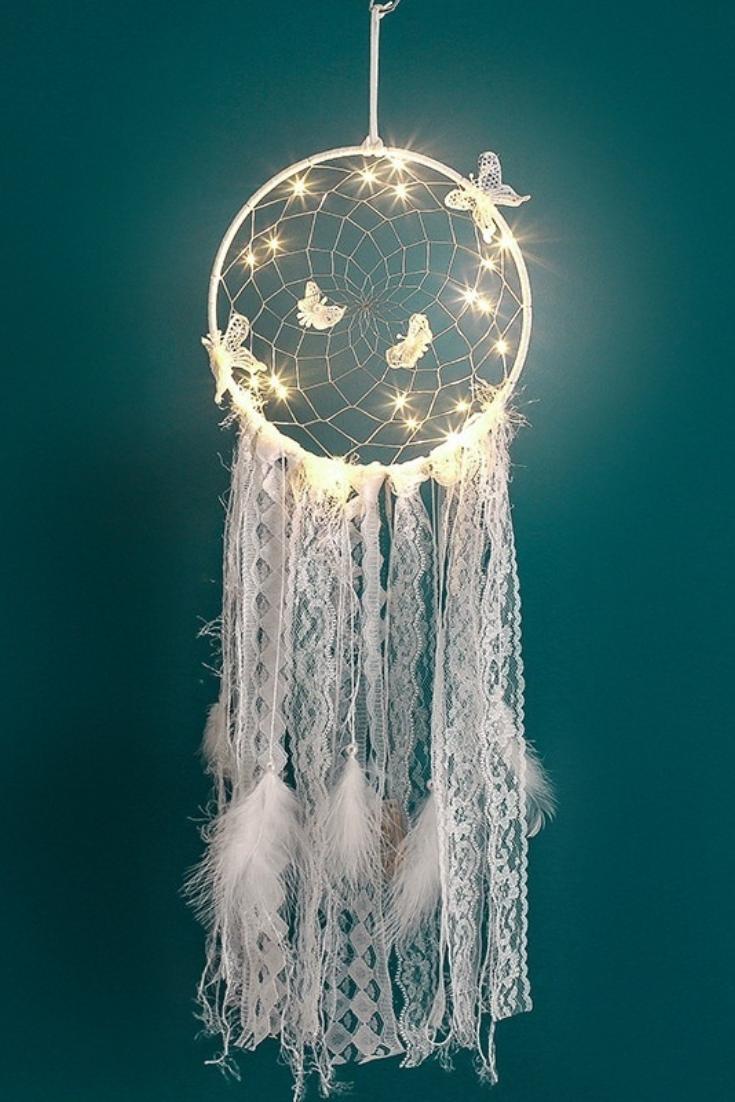 LED Lighting Dream Catcher Girls Dreamlike Feather Bedroom Romantic Dreamcatcher | Wish #traumfängerbasteln