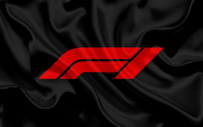 Descargar fondos de pantalla Nuevo logo de la F1, bandera de seda ...