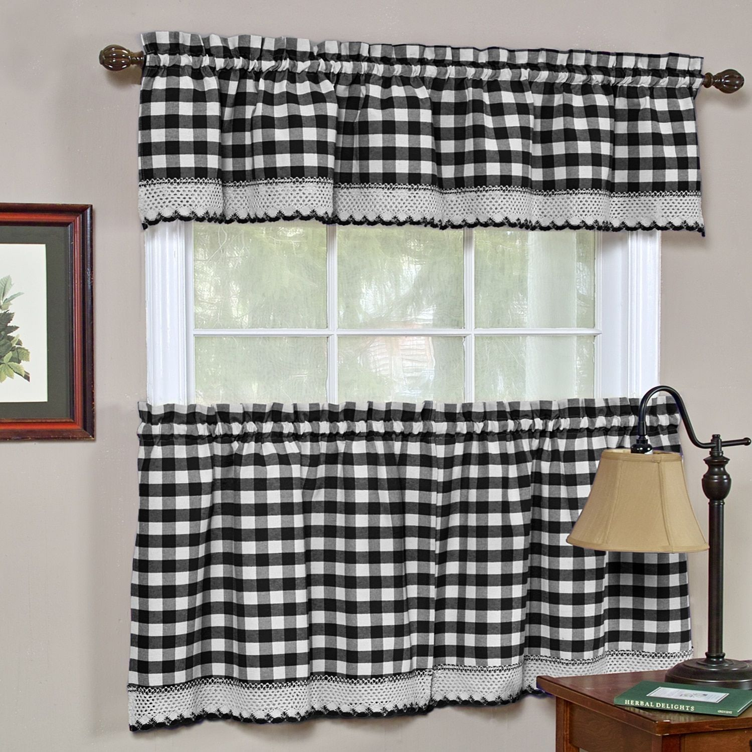 Classic Buffalo Check Kitchen Black And White Cotton Tiers