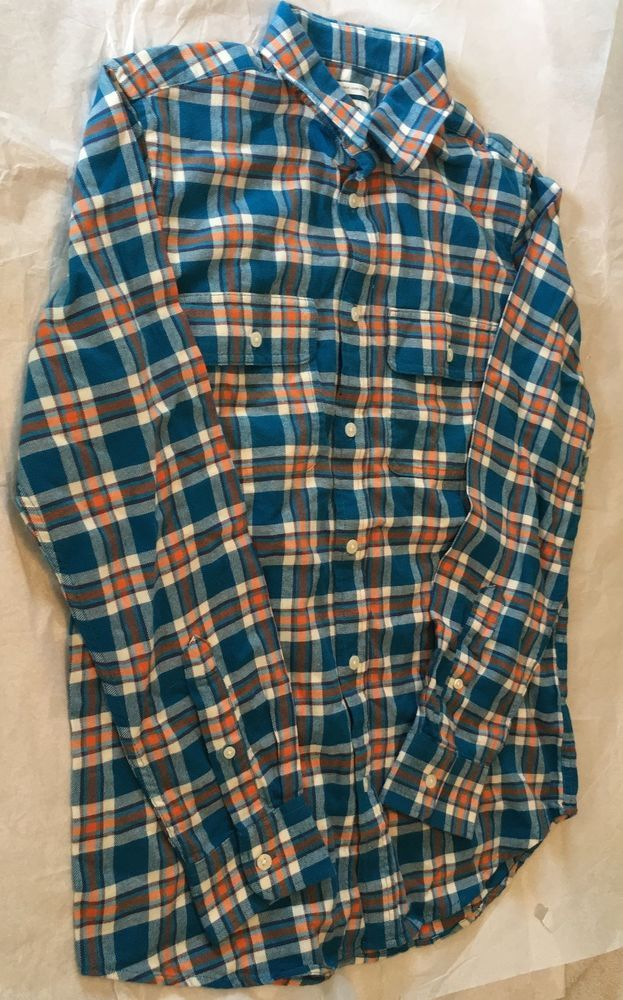 c6aa85df7c481 OLD NAVY Mens Flannel Shirt Regular Fit Coupe Standard Blue Orange White Sz  S Pwith no rips or tears.